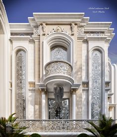 New classic Palace with special luxury touches on Behance Classic House Exterior, Classic House Design, Dream House Exterior, House Outside Design, House Front Design, Classic Architecture, Facade Architecture, Luxury Homes Exterior, Modern Villa Design