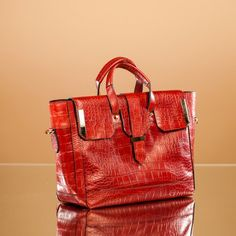 Bold statement with a red croc leacther - Leather Handbags - Astor Satchel Handbag by Linea Pelle  #LPholiday