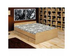 Postel se zásuvkami Duet buk, 160×200 cm Moderní postel Duet je pohodlná a přitom praktická díky úložným prostorům ve formě zásuvek. Postel je vyrobená z kvalitních LTD desek o síle 18 mm. Dezén buk. Postel … Mattress, Vogue, Bedroom, Furniture, Home Decor, Minimalist, Set Of Drawers, Homes, House
