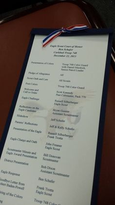Here's Ben's Eagle program that I designed based on a couple of other ideas I saw on Pinterest. I managed to do the program set up on Word, including the watermark, which is the same image as Ben's cake. Labor of love!!: