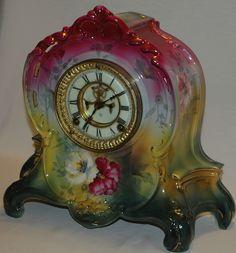 Antique Ansonia, Royal Bonn,  Porcelain Mantel Clock