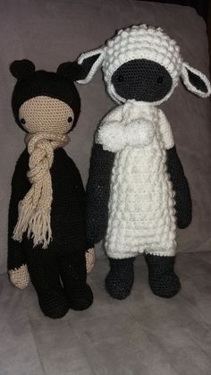 BINA the bear and LUPO the lamb made by Martina Sch. / crochet patterns by lalylala