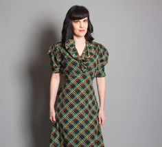 1930s PLAID Day DRESS / RUFFLE Front / Navy Blue by LuckyDryGoods, $165.00