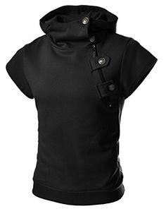 buy popular 99816 79418 4BS Mens Casual Buckle Zipper Slim Hoodie Cotton Solid Sh... Coole Klamotten ,