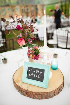 Equations for table numbers at a math teacher's wedding. Make My Day Count. Photography:  Corina V. Photography - corinavphotography.com/  Read More: http://www.stylemepretty.com/canada-weddings/2014/06/19/outdoor-wedding-in-limehouse-ontario/