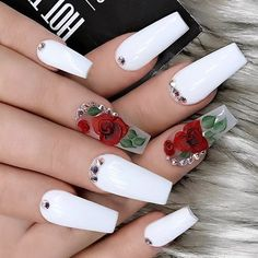 Cute Nail Art Designs For Short Nails 2019 24 Cute Nail Art Designs, Acrylic Nail Designs, Fingernail Designs, White Acrylic Nails, Best Acrylic Nails, Acrylic Spring Nails, Nagel Bling, Rose Nails, Rose Nail Art