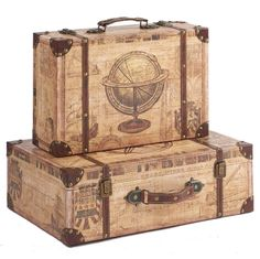 Vintage Wooden Suitcases Set Wholesale With Vintage Pattern Suitcase Storage, Suitcase Set, Storage Boxes, Etiquette Vintage, Old Suitcases, Button Cards, Brown Leather Belt, Pu Leather, Vintage Luggage