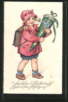 carte postale ancienne: CPA Illustrateur Lia Döring: Glückwunsch zum ersten Schultag, Fille avec Zuckertüte