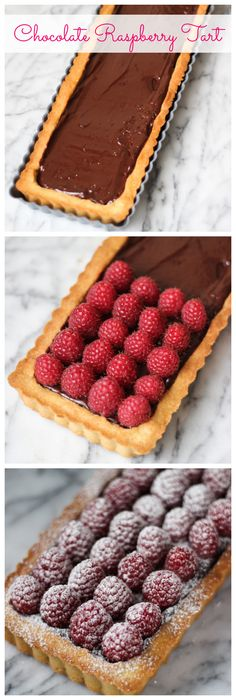 Raspberry Chocolate Tart Chocolate Raspberry Tart - featuring an unshrinkable tart crust that does not require pie weights! Tart Recipes, Sweet Recipes, Baking Recipes, Dessert Recipes, Chocolate And Raspberry Tart, Raspberry Tarts, Chocolate Tarts, Lemon Tarts, Chocolate Ganache Tart