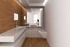 Wąska i długa łazienka z lustrem