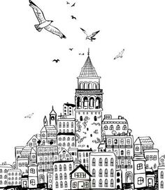 . Istanbul, Wall Drawing, Art Drawings, Watercolor Drawing, House Sketch, Turkish Art, Stencil Painting, Instagram Highlight Icons, Adult Coloring Pages