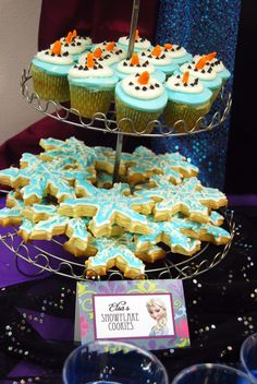 Cupcakes and cookies at a Frozen girl birthday party!  See more party ideas at CatchMyParty.com!