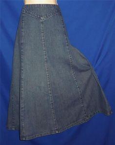 "Found in my Store.. http://stores.ebay.com/My-Evergreen-Closet Western Blue Denim Bohemian Hippie Boho Prairie Modest Skirt 14 / L  32-34"" wst #Chadwicks #PeasantBoho"