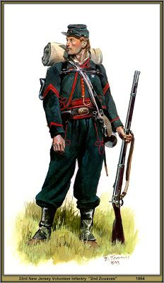 """New Jersey Volunteer Infantry Zouaves"""" 1864 Civil War Military Art, Military History, Military Uniforms, American Civil War, American History, Civil War Art, Union Army, Western Union, Le Far West"""
