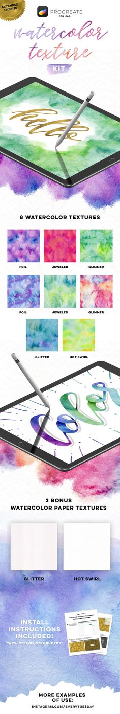 Watercolor for procreate Ipad Art, Adobe Illustrator, Watercolor Paper Texture, Affinity Designer, Photoshop, Lettering Tutorial, Web Design, Graphic Design, Illustration