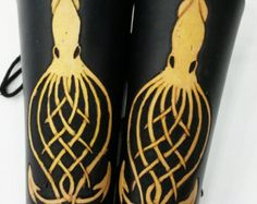 Custom leather bracers with Celtic knot squid design Custom Leather, Cow Leather, Leather Bracers, Blue Stain, Leather Pieces, Tentacle, Celtic Knot, Knots, Swatch
