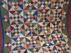 Millie's Quilting: Scrappy Quilts  Pinwheels and 16-patch blocks set on point, Easy-Peasy!!
