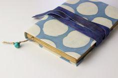 Blue dots Journal diary notebook batik fabric blank book by Patiak