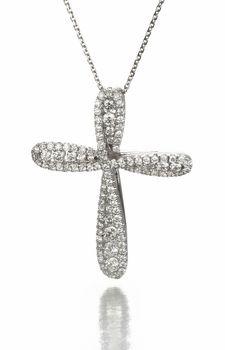 14k White Gold Diamond Cross Necklace with Graduated Diamonds