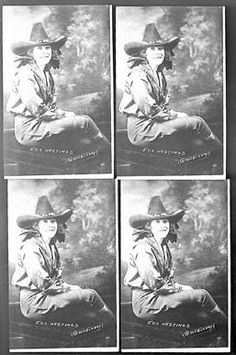 "Publicity photos of Eloise Fox Hastings Wilson (1882-1948). She did trick and bronc riding with the Irwin Brothers' Wild West Show. In 1948, Foghorn Clancy, her manager and publicist, described her trick riding performance: ""...she was a little heavy to be very graceful... she had one of the fastest running trick riding horses ever seen in a rodeo arena, 'Buster,' and the red-headed girl on that flying mount doing any kind of a stunt was little short of sensational."""