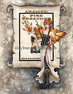 Amy Brown Shadow Circus The Fire Breather 8.5x11 Fairy Print. $14.00, via Etsy.