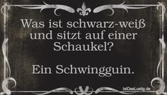 Was ist schwarz-weiß und sitzt auf einer Schaukel? Ein Schwingguin. ... gefunden auf https://www.istdaslustig.de/spruch/3902 #lustig #sprüche #fun #spass