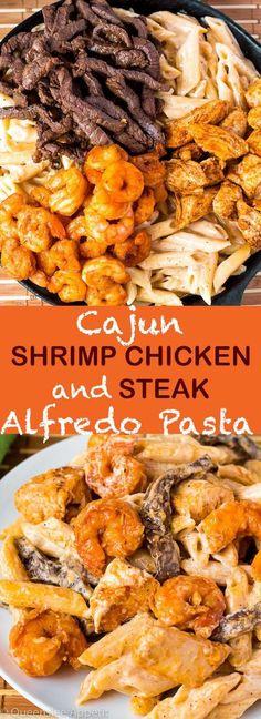 Cajun Shrimp Chicken And Steak Alfredo Pasta - Seafood Steak Alfredo, Chicken And Shrimp Alfredo, Creamy Shrimp Pasta, Seafood Pasta, Seafood Dinner, Chicken Pasta, Pasta Alfredo, Penne Pasta, Alfredo Sauce