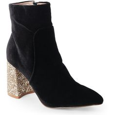 Black Velvet Kacey Glitter Heel Booties - Century 21 ❤ liked on Polyvore featuring shoes, boots, ankle booties, glitter boots, black glitter boots, kohl boots, black ankle booties and glitter booties