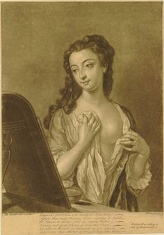 A young woman en deshabille, looking at herself in a mirror set on the left, drawing her night gown together over her breast with both hands, hair in loose curls over right shoulder, a bowl of water in front of the mirror; after Mercier, 1739