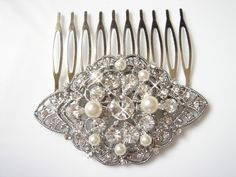 Phillis with Sawrovski Pearls Art Deco Sparkling Lace Crystals Hair Comb