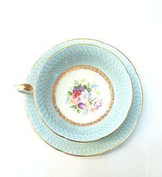 Antique Royal Grafton Tea Cup Sky Blue Gold by GracesVintageGarden