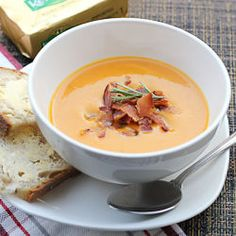 Spicy Butternut Squash Soup with bacon bits. The perfect winter warmer.