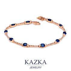 Золотой браслет с бриллиантами и сапфирами - роскошь, способная зажигать сердца. Приобрести со скидкой за 64 846 грн. http://goo.gl/GJylYi #kazkajewelry #украшения_kazkajewelry