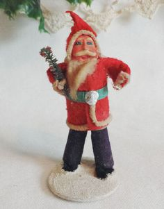 Antique Cotton Santa Claus Figurine from 1930s vintage Christmas Decoration. - Sold by DanushasCollectibles Vintage Etsy Shop Thank You! ♡