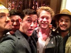 """Saying cheese with Mumford & Sons before they hit rehearsal #SNL"" (X)"
