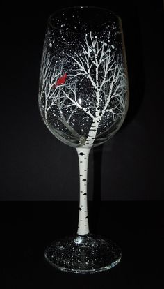 Winter Aspen (or Birch) Tree Wine Glass with Cardinal by 4SeasonsArt4You