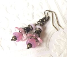 Light pink flower earrings brass and pale pink by CrushedCameo