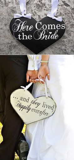 here comes the bride/ and they lived happily ever after wedding signs
