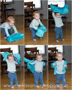 The Montessori Coat Flip The Montessori Coat Flip,Kindergarten Montessori & Co Teach toddlers how to put on their coats the Montessori way. This easy coat flip trick can be used with the youngest kids. Montessori Baby, Montessori Education, Montessori Classroom, Montessori Materials, Montessori Activities, Infant Activities, Kids Education, Montessori Bedroom, Montessori Elementary