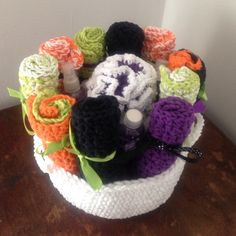 Handmade Basket with wash clothes and bath sponge My mom crochets nice items. This is a handmade basket with 20 handmade wash clothes, 1 handmade bath sponge, shower gel, lotion, and body spray. Althea  Accessories