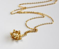 Gold lotus flower nacklace by balance9 on Etsy