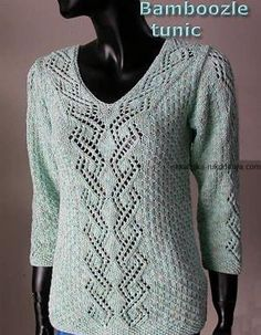 Bamboozle Tunic with Lace Panel Pullover - free knit pullover pattern in bamboo yarn - Crystal Palace Yarns Sweater Knitting Patterns, Knitting Stitches, Knit Patterns, Free Knitting, Seed Stitch, Knit Or Crochet, Pulls, Couture, Crystal Palace
