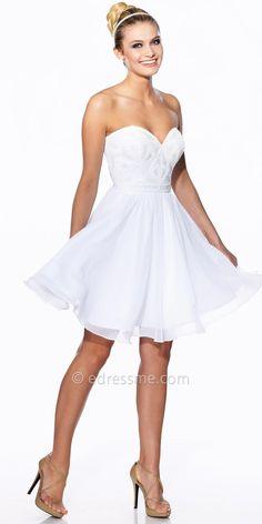 Studded Bodice Homecoming Dress by Tony Bowls Shorts