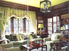 Interior Design by Mary McDonald - The Harvey Mudd Estate Mary Mcdonald, Green Lamp Shade, Living Room Modern, Living Rooms, Family Rooms, English Decor, Cottage Interiors, Green Rooms, Elegant Homes