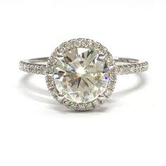 $899 Round Moissanite Engagement Ring Pave Diamond Wedding 14K White Gold,8mm