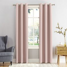 Sun Zero Mercer Blackout Window Curtain, Light Pink