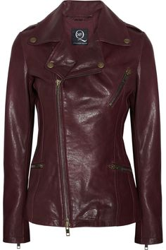 want to splurge? this leather biker jacket by celebrity-favorite brand McQ alexander mcqueen comes in fall's hottest hue, oxblood.