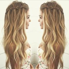 Balayage-Wavy-hair-with-Waterfall-Braid-Hairstyles-Casual-Summer-Hair-Styles-for-Long-Hair
