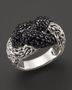 John Hardy Classic Chain Sterling Silver Lava Small Braided Ring Black Sapphire
