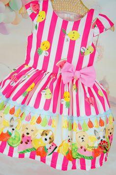 Vestido Infantil Frutinhas Pink Listrado Mon Sucré